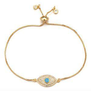 Evil Eye Boho Blue Opal CZ Yellow Gold Bracelet